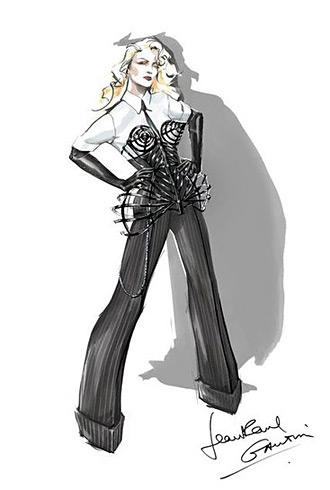 Jean Paul Gaultier sketch for Madonna's MDNA tour
