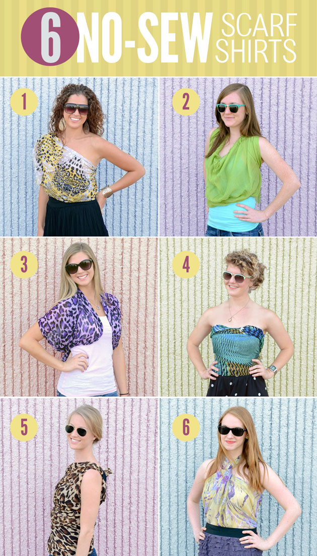 6 ways to tie a scarf into a shirt - no sewing required
