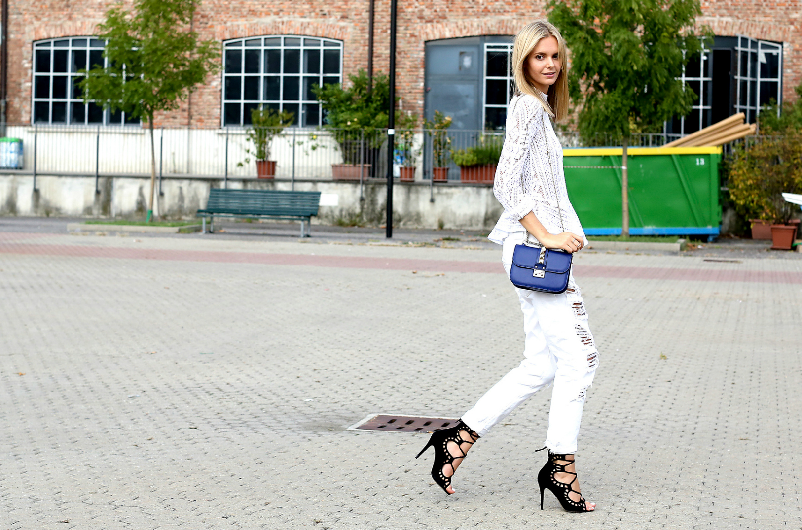 white outfit with colorful accents