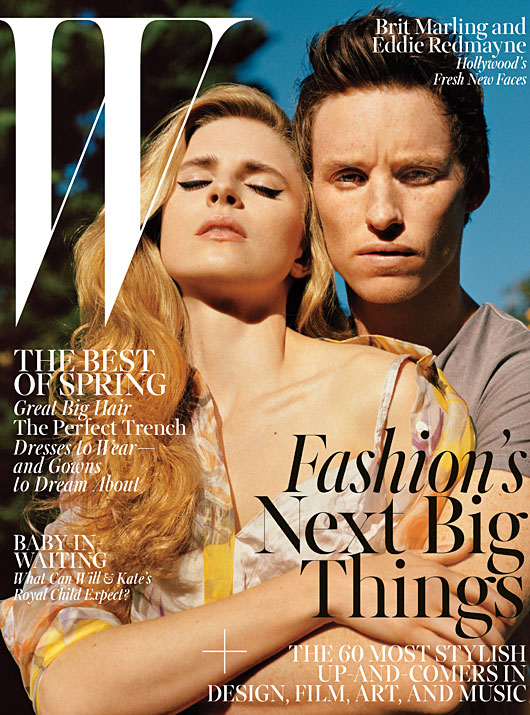 W April 2013 - Brit Marling and Eddie Redmayne