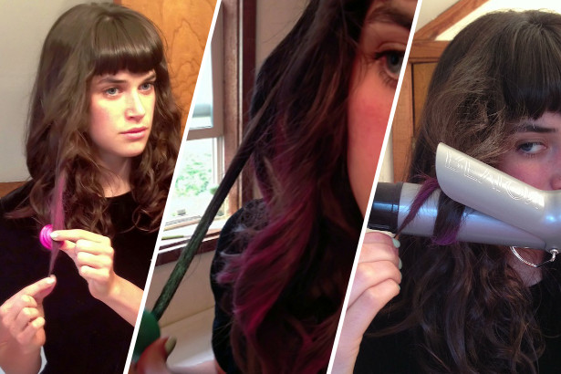 Applying hair chalk to hair and then styling with a curling iron