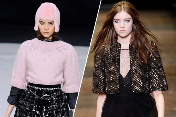 Grace Hartzel for Chanel FW13 (left) and Saint Laurent FW13 (right) / Image: IMAXtree