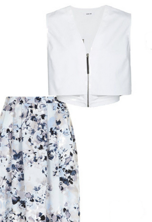 crop top and floral midi skirt for 2014 summer office dressing