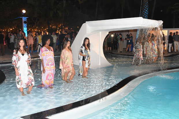 Models at the opening party celebrating 10 years during Mercedes-Benz Fashion Week Swim 2015 at The Raleigh