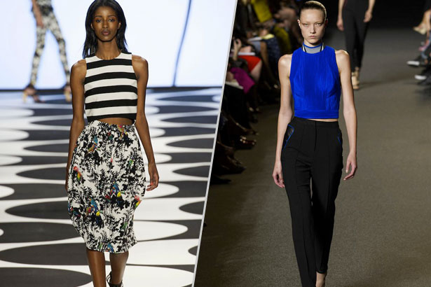 crop tops at Nicole Miller and Alexander Wang