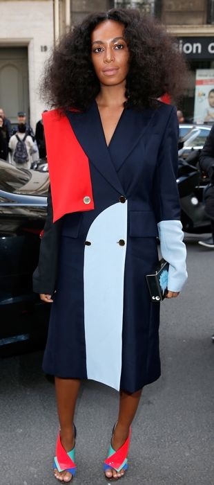 Solange Knowles wears a colorblock Harbison coat to PFW