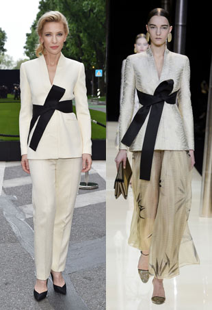 Cate Blanchett in cream pantsuit. Model wears similar runway look.