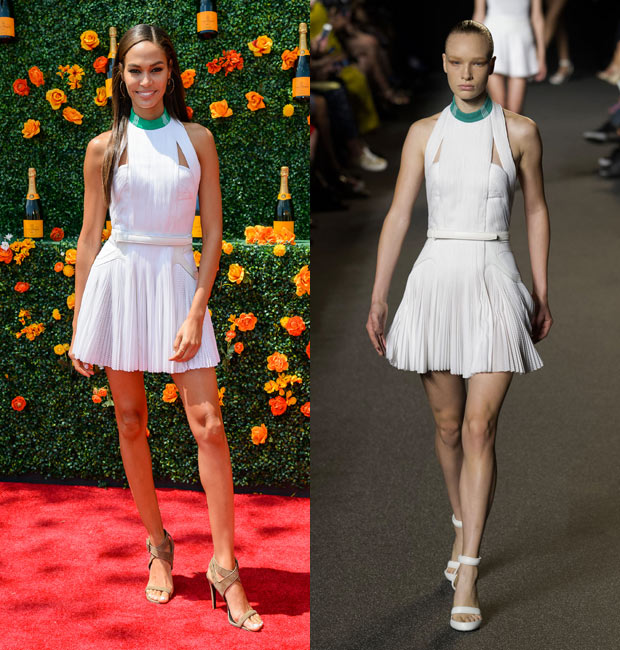 Joan Smalls in a little white dress, runway model wears same dress at right.