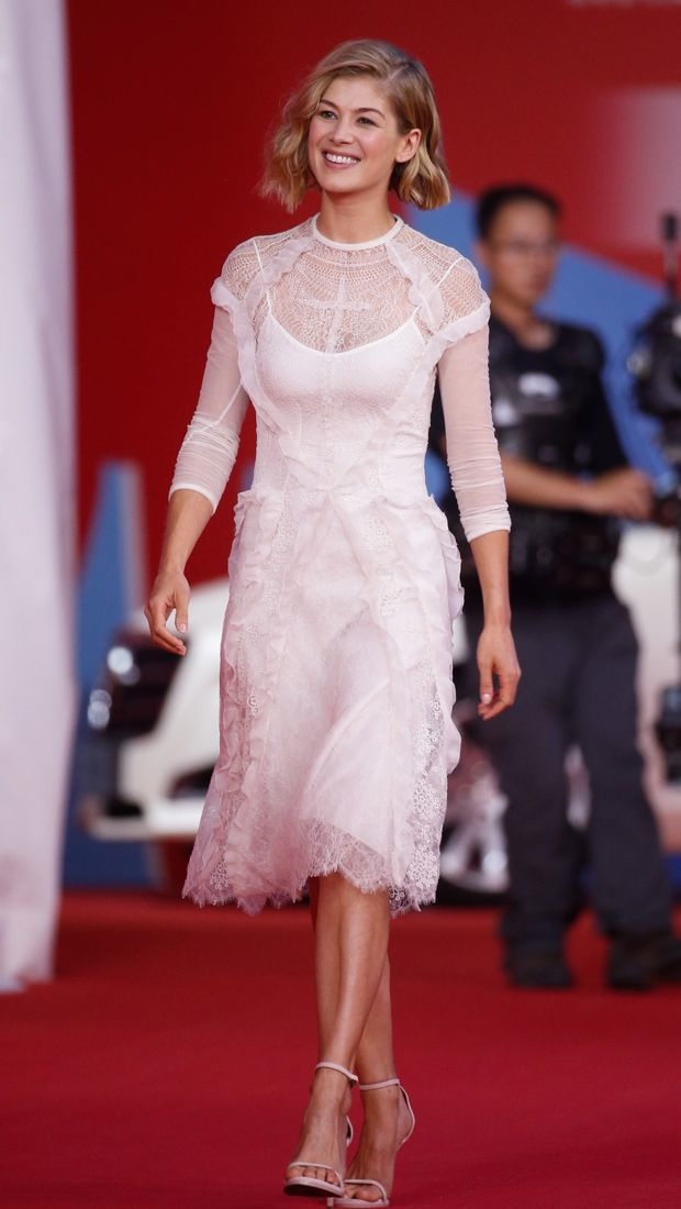 Rosamund Pike wears a lacy white Givenchy dress to the 18th Shanghai International Film Festival
