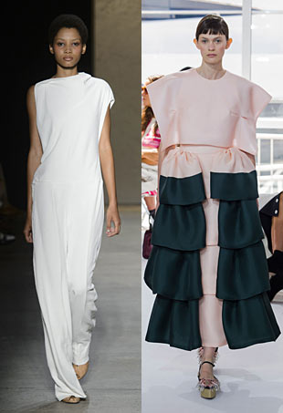 2 runway models wear looks by Narciso Rodriguez and Delpozo