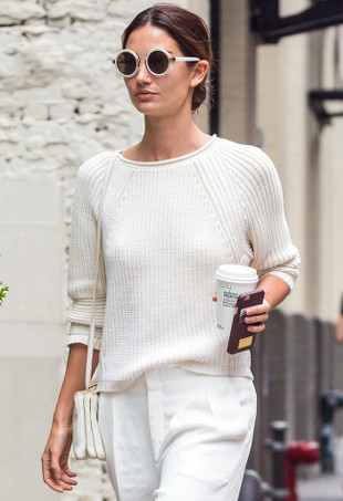 Lily Alridge wearing a white J Brand sweater.