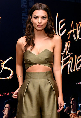 Emily Ratajkowski wearing a jumpsuit in Dried Herb, one of Pantone's Fall 2015 colors.