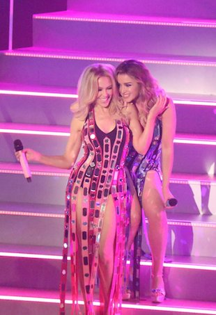 Dannii and Kylie Minogue perform on The X Factor