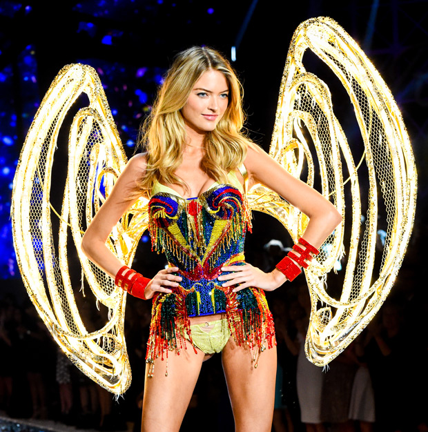 "Within the Fireworks section of the show, the sparkling finale look was designed by Serkan Cura, the LED-lit lights on the wings were created by Mirian ""Killer"" Hose and it was worn by Victoria's Secret Angel, Martha Hunt."