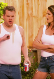 Watch: James Corden & Cindy Crawford Hilariously Parody Her 1992 Pepsi Commercial