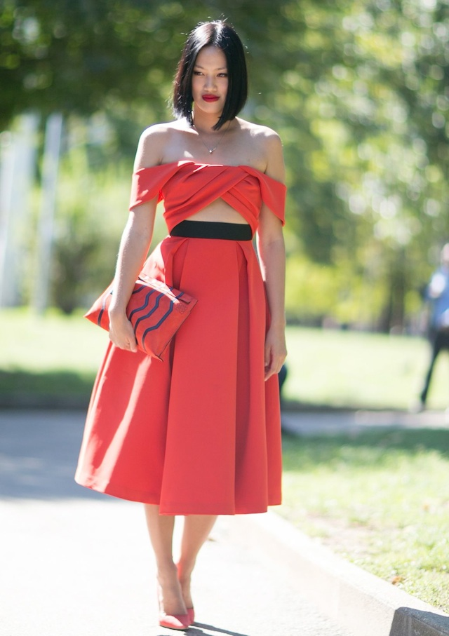 off-the-shoulder-red-crop-top-skirt-street-style