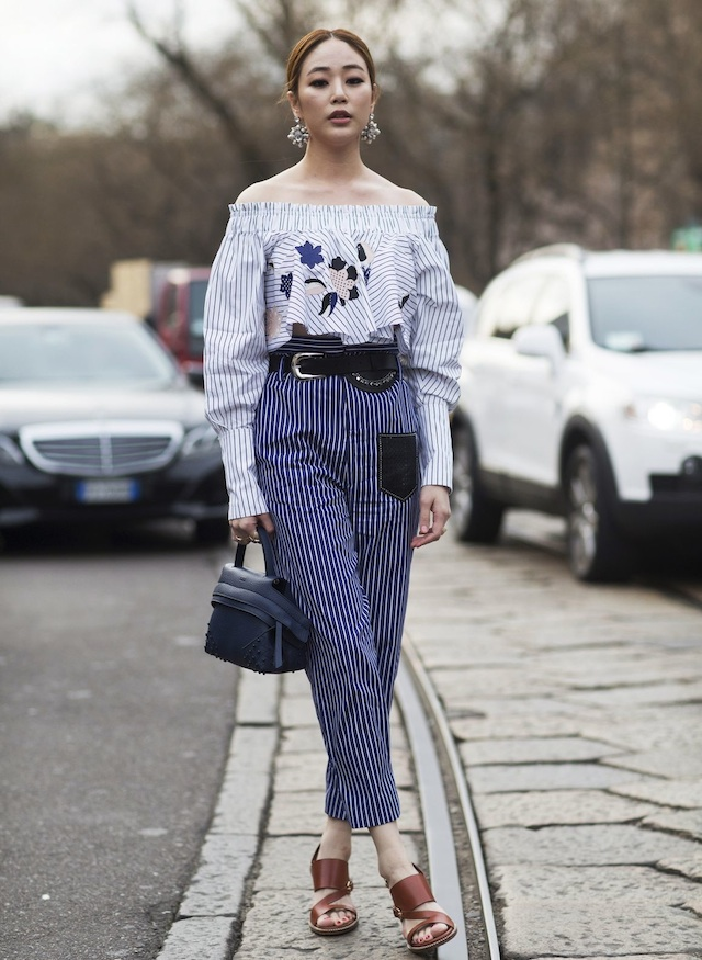 off-the-shoulder-striped-blouse-trousers-street-style