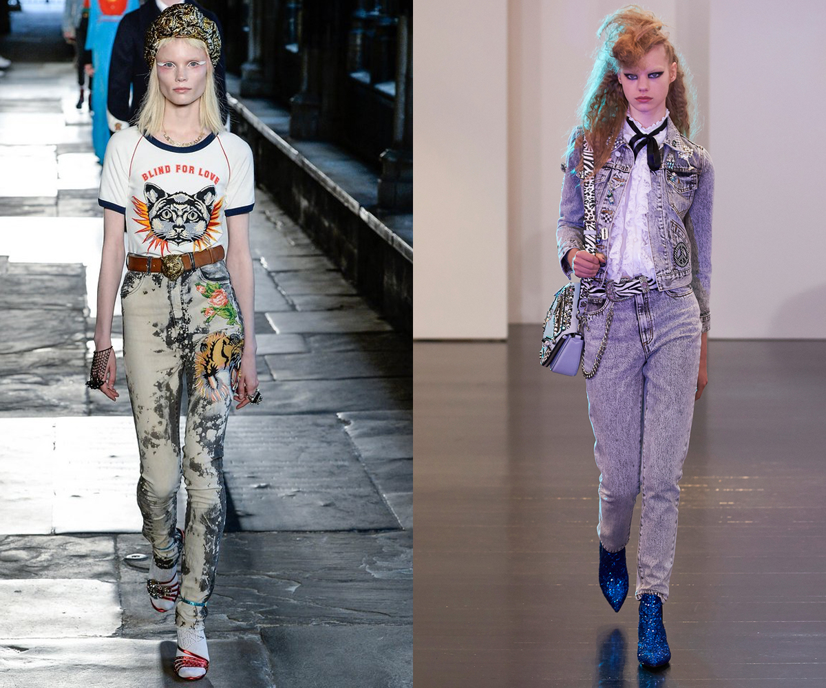 Tastefully acidic looks on the Resort 2017 runways of Gucci (left) and Marc Jacobs (right).