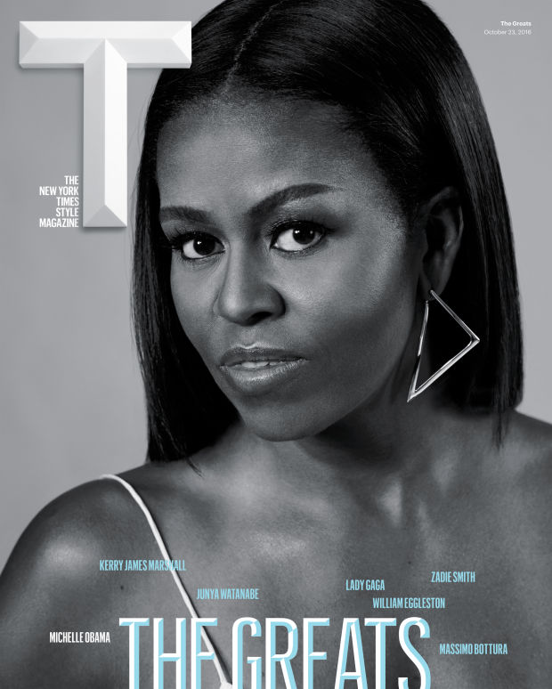 "Michelle Obama on the cover of New York Times Magazine's ""The Greats"" issue."