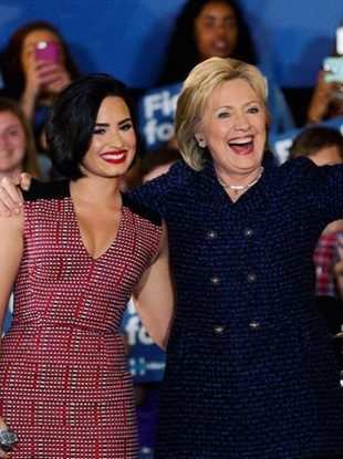Demi Lovato shows her support for Hillary Clinton.