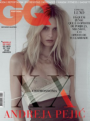Andreja Pejic fronts the April 2017 edition of GQ Portugal.