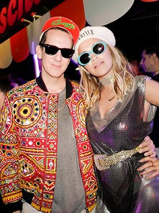 Jeremy Scott and Rita Ora at the Moschino x Candy Crush launch party.