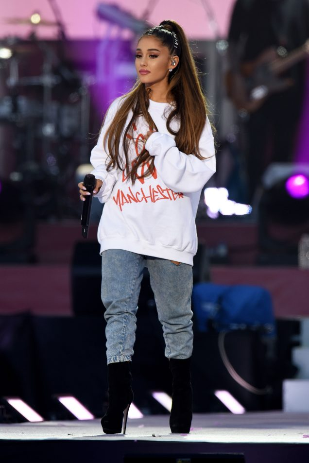Ariana Grande performs at her One Love Manchester benefit concert.