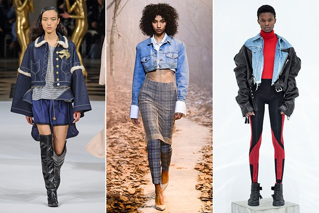 Cropped denim jackets on the Fall 2017 runways