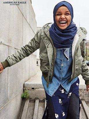 """Muslim model Halima Aden fronts American Eagle Outfitters' """"I Can"""" campaign."""
