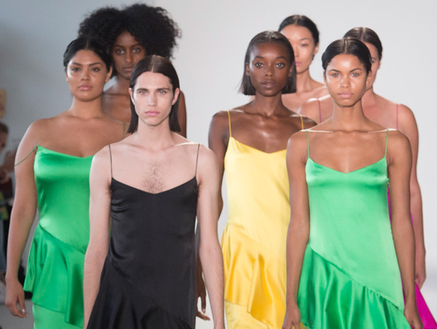 diverse models on the Christian Siriano Spring 2018 runway