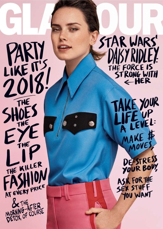 US Glamour January 2018 : Daisy Ridley by Steven Pan