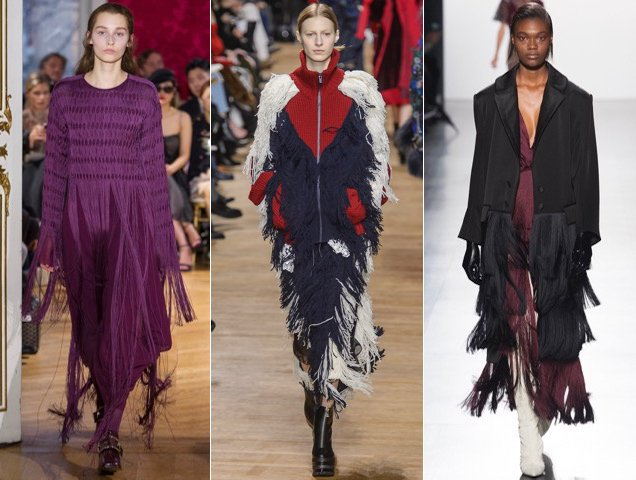 Fringe for Fall 2017. John Galliano Fall 2017, Sacai Fall 2017, Prabal Gurung Fall 2017
