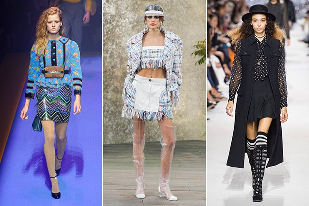 Miniskirts on the Spring 2018 runways. Gucci Spring 2018, Chanel Spring 2018, Christian Dior Spring 2018