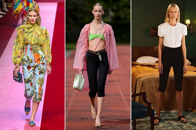 Pedal pushers at Dolce & Gabbana Spring 2018, Maryam Nassir Zadeh Spring 2018 and Khaite Spring 2018.