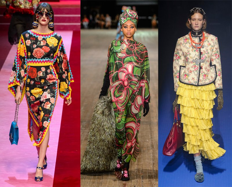 Retro florals as seen on the Dolce & Gabbana, Marc Jacobs and Gucci Spring 2018 runways