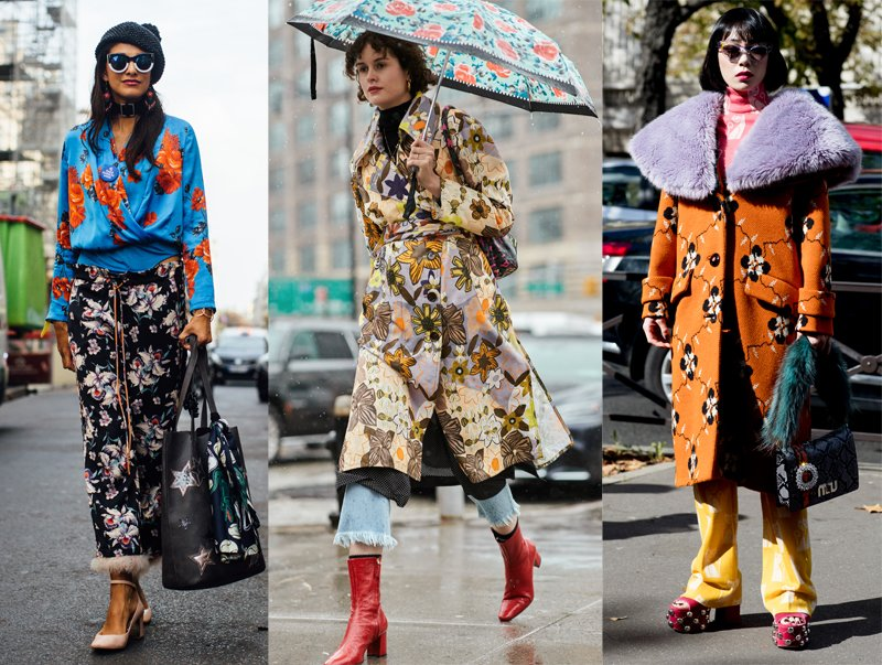 Street style stars wear retro floral prints