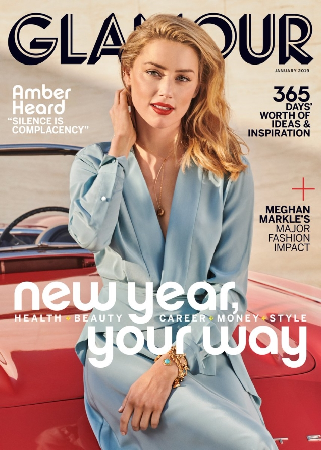 US Glamour January 2019 : Amber Heard by Jason Kibbler