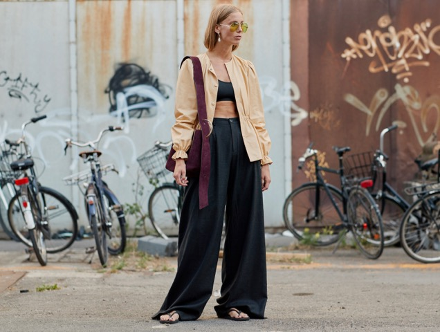 Balance out a cropped top with a light jacket.