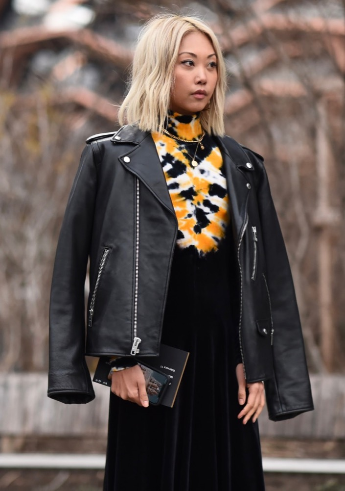 A leather jacket at New York Fashion Week Fall 2019.