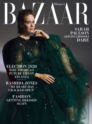 US Harper's Bazaar October 2020 : Sarah Paulson by Sam Taylor Johnson