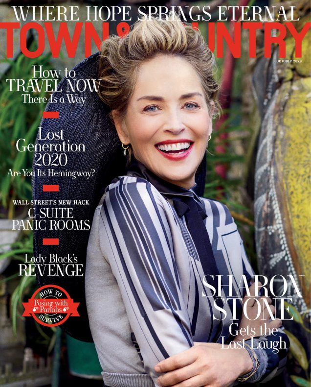 Town & Country October 2020 : Sharon Stone by Michael Muller