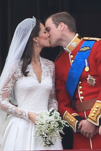 Prince William and Catherine Middleton kiss as husband and wife