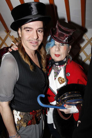 John Galliano and Anna Piaggi attends the John Galliano Ready to Wear show during Paris Womenswear Fashion Week Fall/Winter 2011