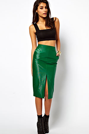ASOS green wet-look pencil skirt - forum buys