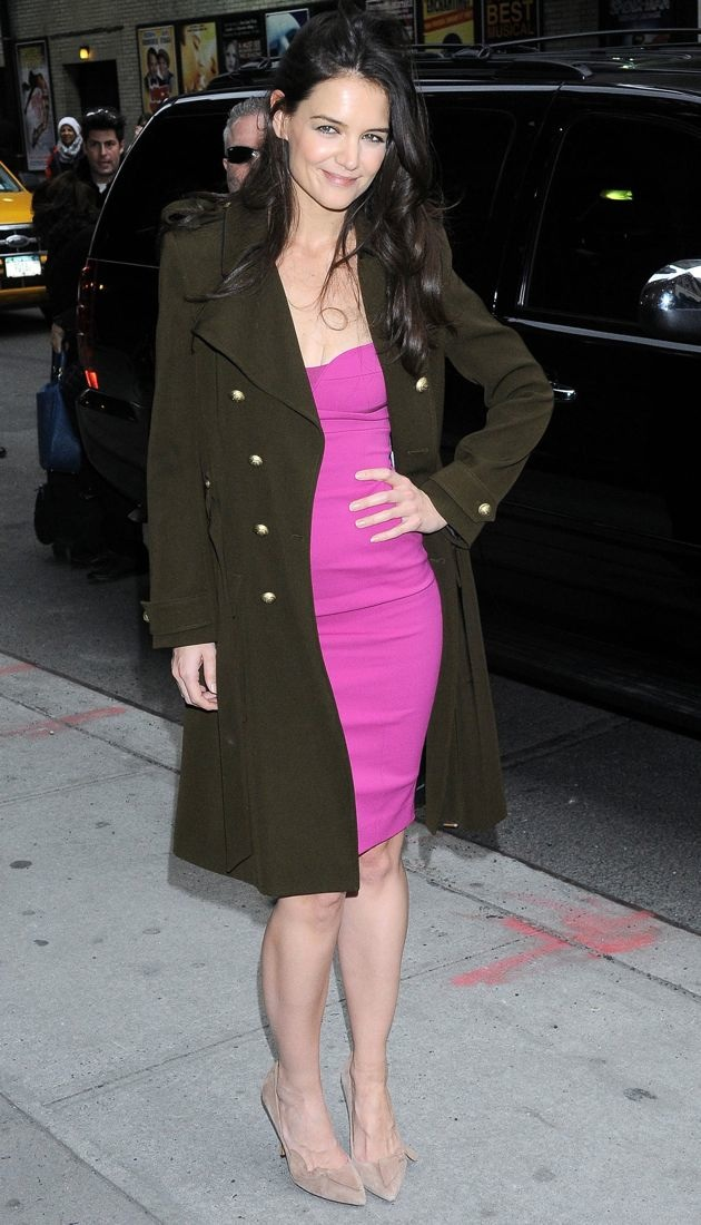Katie holmes combines a vivid narciso rodriguez dress with a balenciaga coat
