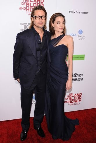 Angelina Jolie and Brad Pitt The premiere of In the Land of Blood and Honey Hollywood Dec 2011 cropped