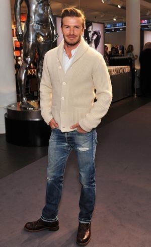 David Beckham photocall at the HM store London Feb 2012
