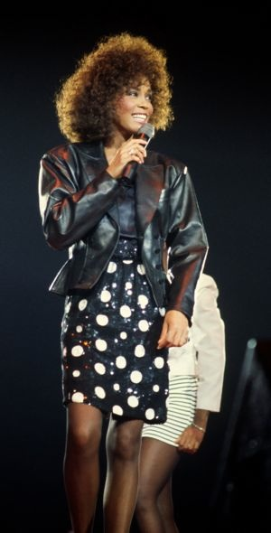 Whitney Houston polka dot dress during The Moment of Truth Tour London May 1988