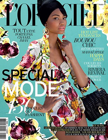 Chanel Iman L'Officiel February 2012 cover - wearing Dolce & Gabbana Spring 2012
