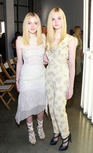 Dakota and Elle Fanning Rodarte Front Row Spring 2012